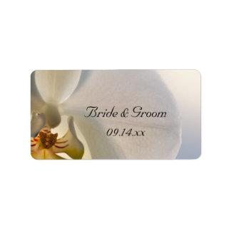 White Orchid Elegance Wedding Favor Tag Address Label