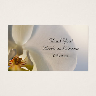 White Orchid Elegance Wedding Favor Tags Business Card