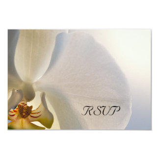 White Orchid Elegance Wedding RSVP Response 9 Cm X 13 Cm Invitation Card