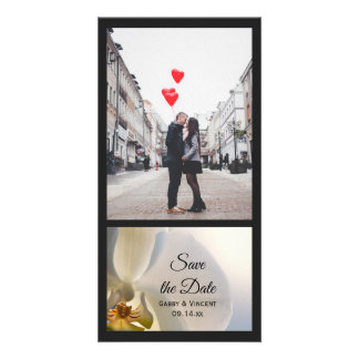 White Orchid Elegance Wedding Save the Date Card