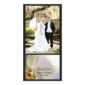 White Orchid Elegance Wedding Thank You Customized Photo Card