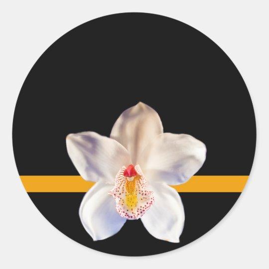 White Orchid Envelope Seal Event Wedding Sticker