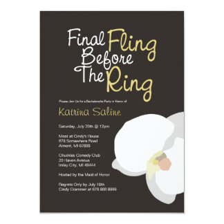 White Orchid Final Fling Before the Ring Invitatio Card