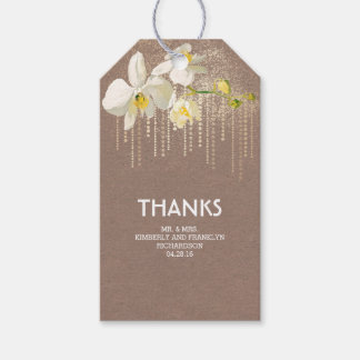 White Orchid Flower Gold Glam Vintage Wedding Gift Tags