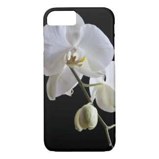 White Orchid Flower on Black iPhone 8/7 Case