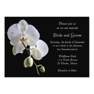 White Orchid Flower on Black Wedding Invitation