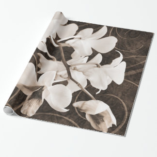 White Orchid Flower Sepia Black Background floral Wrapping Paper