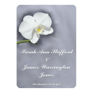 White Orchid Flower Wedding Invitation