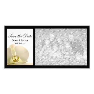 White Orchid Flower Wedding Save the Date Custom Photo Card