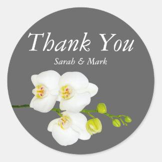 White Orchid Flowers & Grey Wedding Thank You Round Sticker