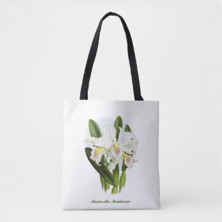 White Orchid Flowers Tote Bag