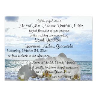 White Orchid Ocean Waves Wedding 14 Cm X 19 Cm Invitation Card
