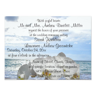 White Orchid Ocean Waves Wedding 5.5x7.5 Paper Invitation Card