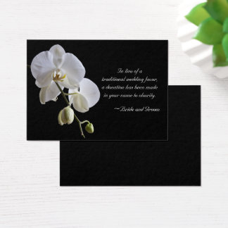 White Orchid on Black Charity Wedding Favor Card