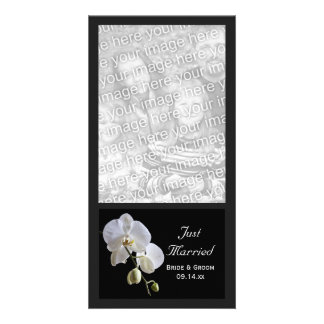 White Orchid on Black Just Married Wedding Card