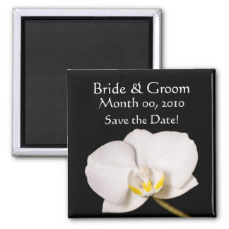 White Orchid on Black Square Magnet