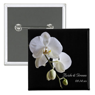 White Orchid on Black Wedding 15 Cm Square Badge
