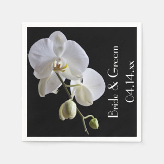 White Orchid on Black Wedding Paper Napkins
