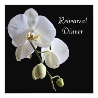White Orchid on Black Wedding Rehearsal Dinner Card
