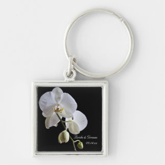 White Orchid on Black Wedding Silver-Colored Square Key Ring