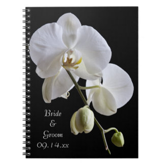 White Orchid on Black Wedding Spiral Note Books