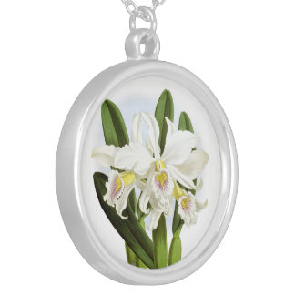 White Orchid Pendant Necklace
