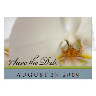 White orchid save the date greeting card