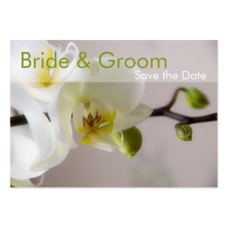 White Orchid • Save the Date Mini Card Business Card Template