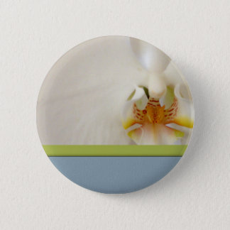 White orchid template with blue and green accent 6 cm round badge