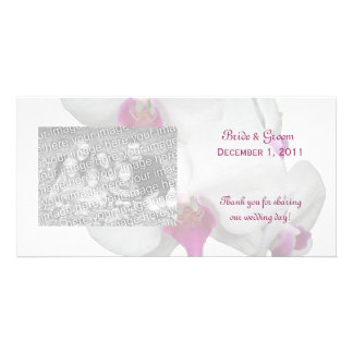 White Orchid Thank You Photo Cards