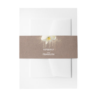 White Orchid Vintage Gold Glam Wedding Invitation Belly Band