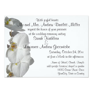 White Orchid Wedding 14 Cm X 19 Cm Invitation Card