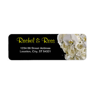 White Orchid Wedding Address Label