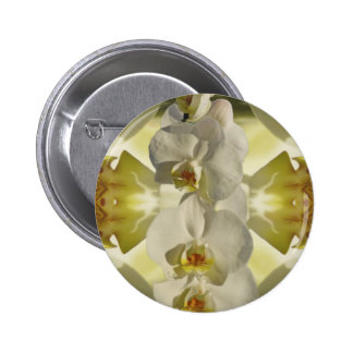 White orchid wedding pinback button