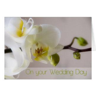 White Orchid Wedding Congratulation Card