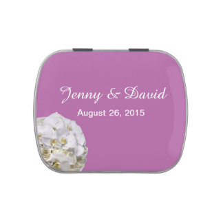 White Orchid Wedding Favor Candy Tins