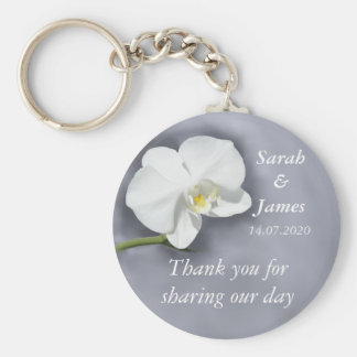 White Orchid Wedding Favor Key Ring Basic Round Button Key Ring