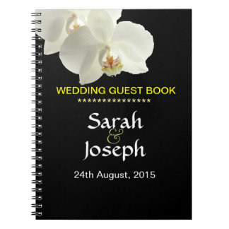 White Orchid Wedding Guest Note Book