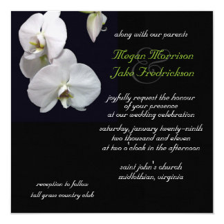 White Orchid Wedding Invitation 5.25x5.25