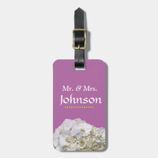 White Orchid Wedding Luggage Tags