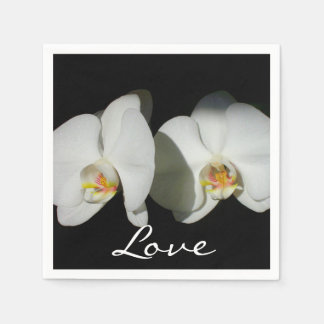 White Orchid Wedding Paper Napkins