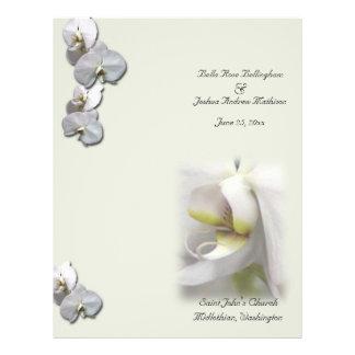 White Orchid Wedding Program 21.5 Cm X 28 Cm Flyer