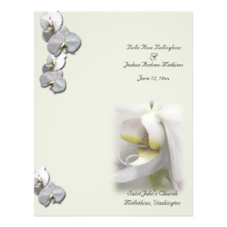 White Orchid Wedding Program Custom Flyer