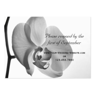 White Orchid Wedding RSVP Response Card Pack Of Chubby Business Cards