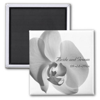 White Orchid Wedding Square Magnet
