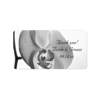 White Orchid Wedding Thank You Label Address Label