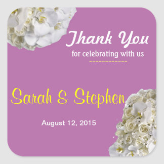 White Orchid Wedding Thank You Label Sticker
