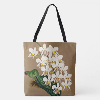White Orchids Botanical Print, Tan Background Tote Bag