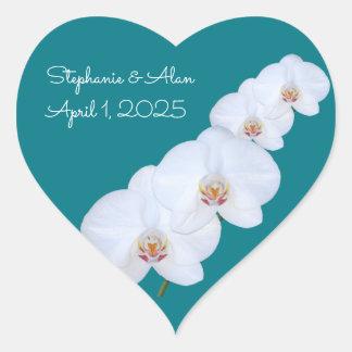 White Orchids Branch Wedding Stickers