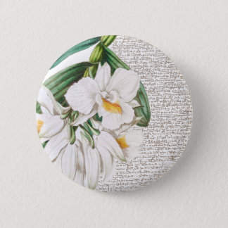White Orchids Calligraphy 6 Cm Round Badge